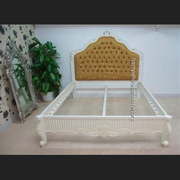 Victoriana Bed Upholstered in Antique White with Gold2