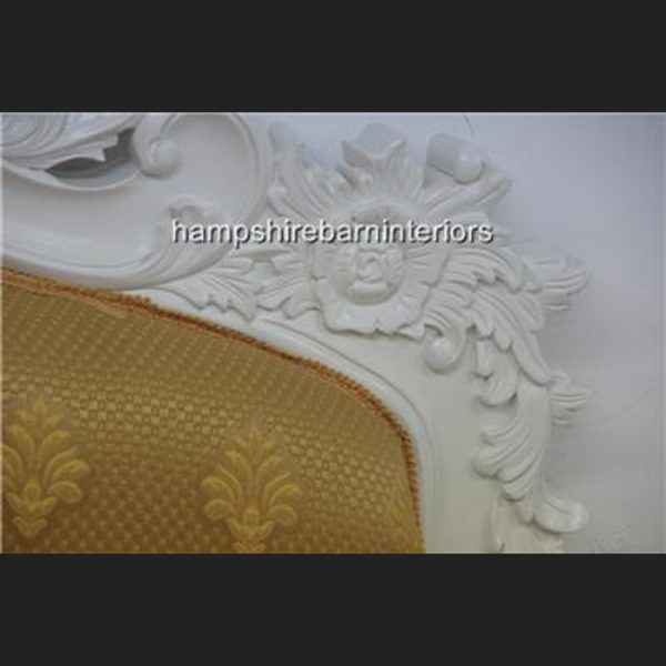 Victoriana Bed Upholstered in Antique White with Gold5