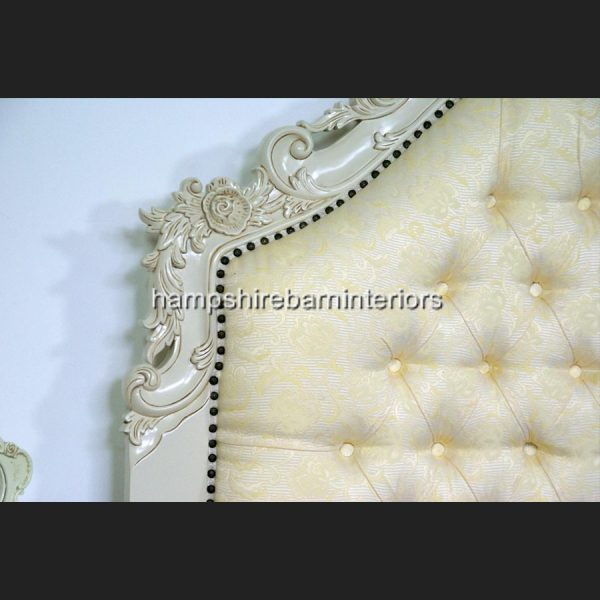 Victoriana Bed Upholstered in Cream with antiqued Cream frame2