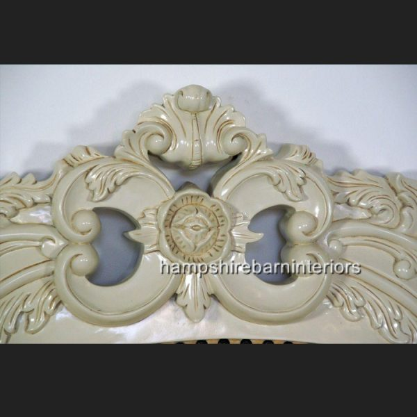 Victoriana Bed Upholstered in Cream with antiqued Cream frame3