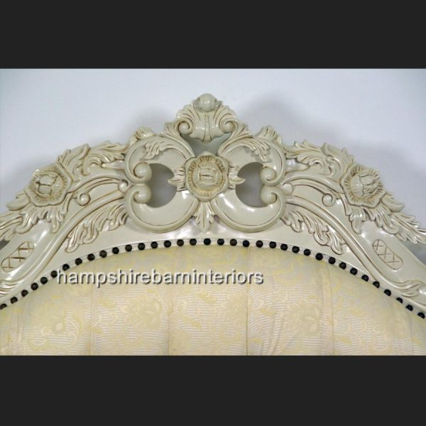 Victoriana Bed Upholstered in Cream with antiqued Cream frame4