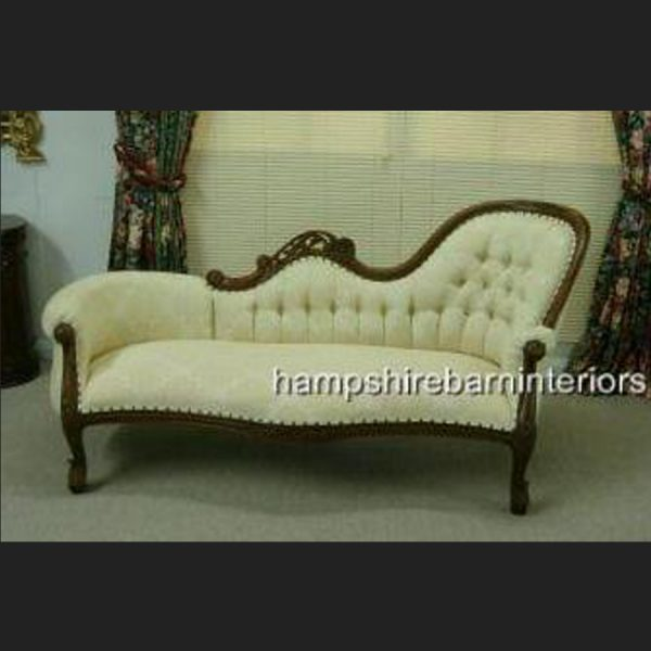 Waterford Chaise Longue in Mahogany and Trellis Cream Fabric (plus variation in gold)1