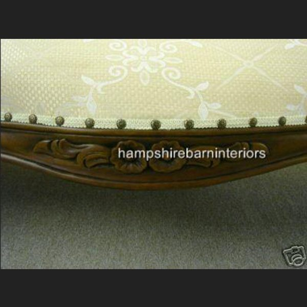 Waterford Chaise Longue in Mahogany and Trellis Cream Fabric (plus variation in gold)3