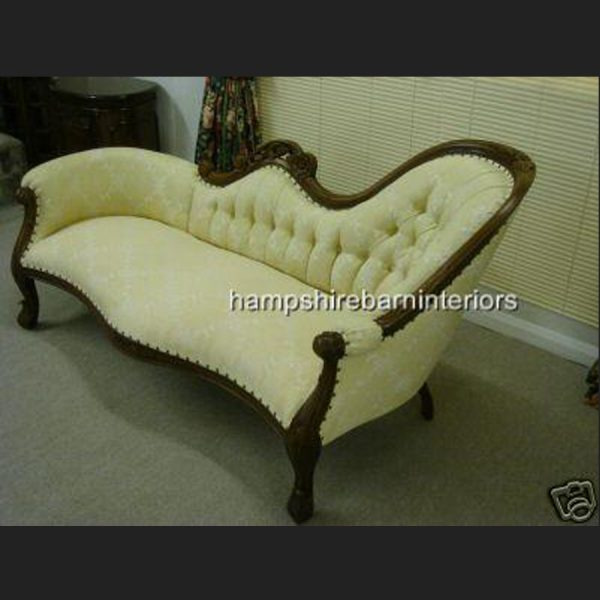 Waterford Chaise Longue in Mahogany and Trellis Cream Fabric (plus variation in gold)4