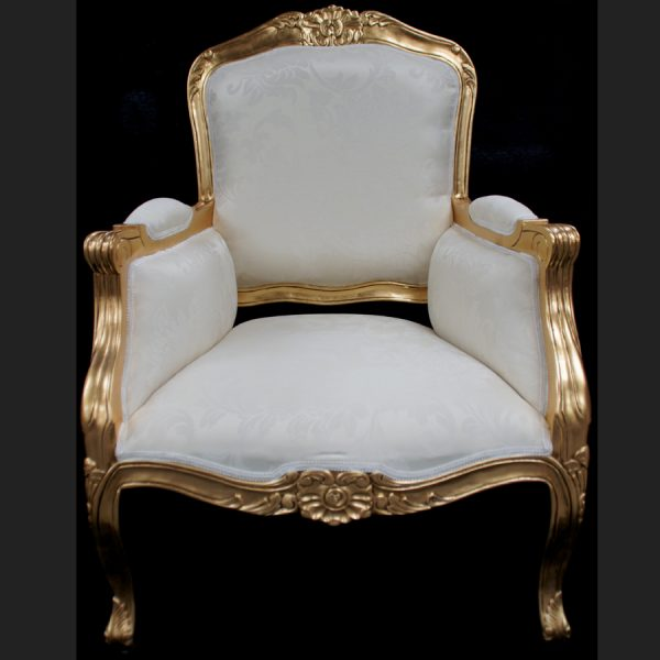 A Beautiful French Louis Style armchair ornately carved IN GOLD OR SILVER LEAF FRAME6