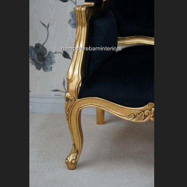 A Beautiful French Louis Style armchair ornately carved IN GOLD OR SILVER LEAF FRAME8
