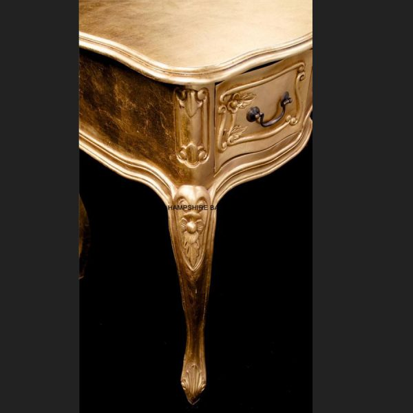 A Chateau French Style Ornate GOLD LEAF Desk ..can be used also as a Console or Dressing Table 3 Drawer2