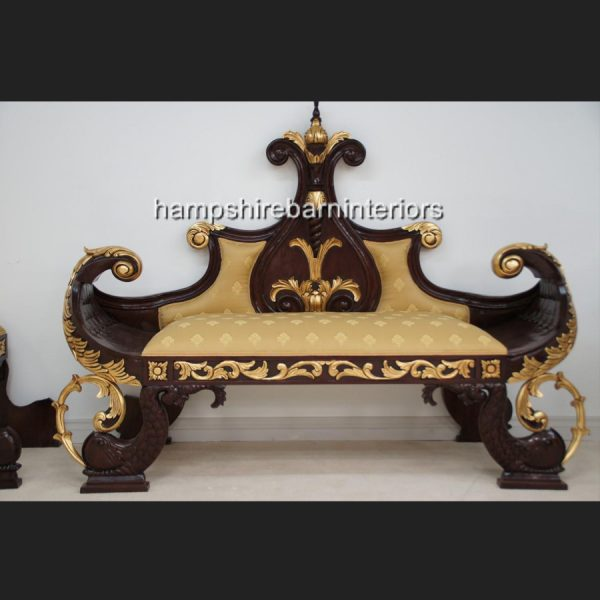 ATANUS ORNATE WEDDING STAGE SLEIGH BOAT WITH TWO SIDE STOOLS1