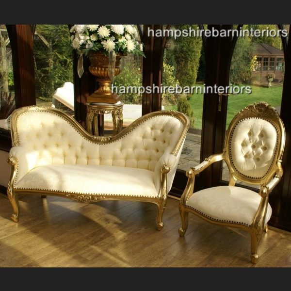 The Parisian Wedding Set in gold and cream (sofa and two chairs)1