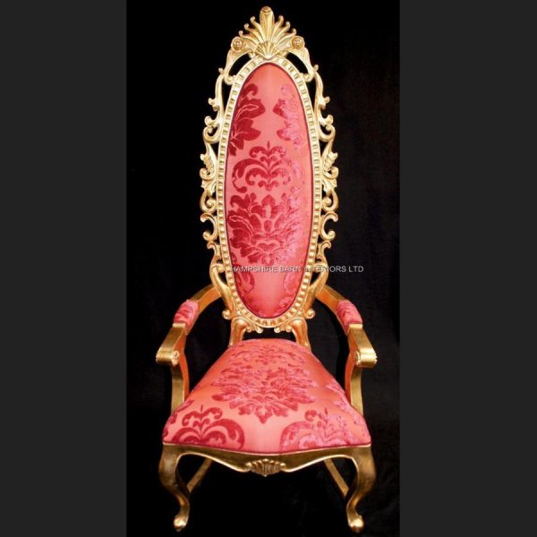 a-tall-elegant-milan-throne-hall-chair-feature-gold-leaf-coral-red-fabric-ornate