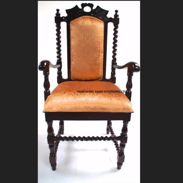 antique-replica-carver-dining-hall-chair-mahogany-gold-fabric-hand-carved-throne