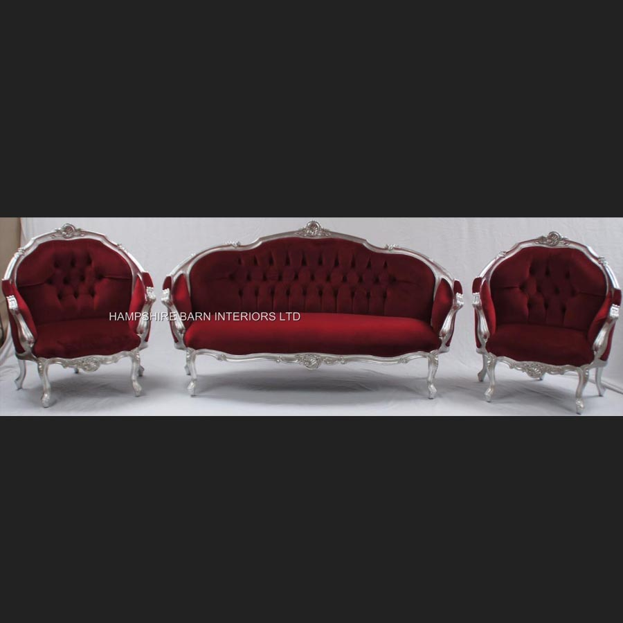 Awe Inspiring An Ascot Three Piece Salon Set Sofa Plus Two Armchairs Shown In Silver Leaf With Burgundy Dark Red Velvet Machost Co Dining Chair Design Ideas Machostcouk