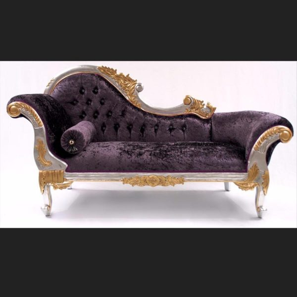 A 2 Gold and Silver Framed Hampshire Chaise with Purple Mulberry Crushed Velvet and Crystal buttons (1)