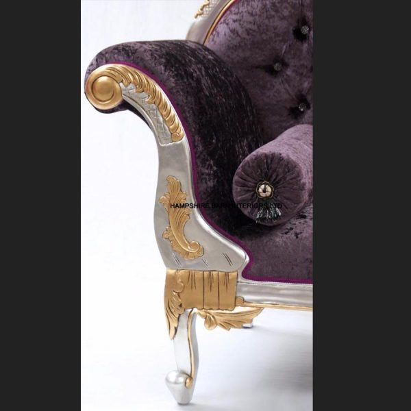 A 2 Gold and Silver Framed Hampshire Chaise with Purple Mulberry Crushed Velvet and Crystal buttons (5)