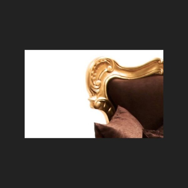 A GRANDE ITALIAN ANTIQUE REPLICA STYLE SOFA …shown in gold leaf and mocca brown textured velvet patterned fabric (2)