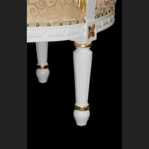 A L'amour French Louis Chaise Longue shown in white & gold frame with gold upholstery (2)