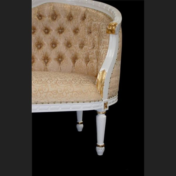 A L'amour French Louis Chaise Longue shown in white & gold frame with gold upholstery (5)