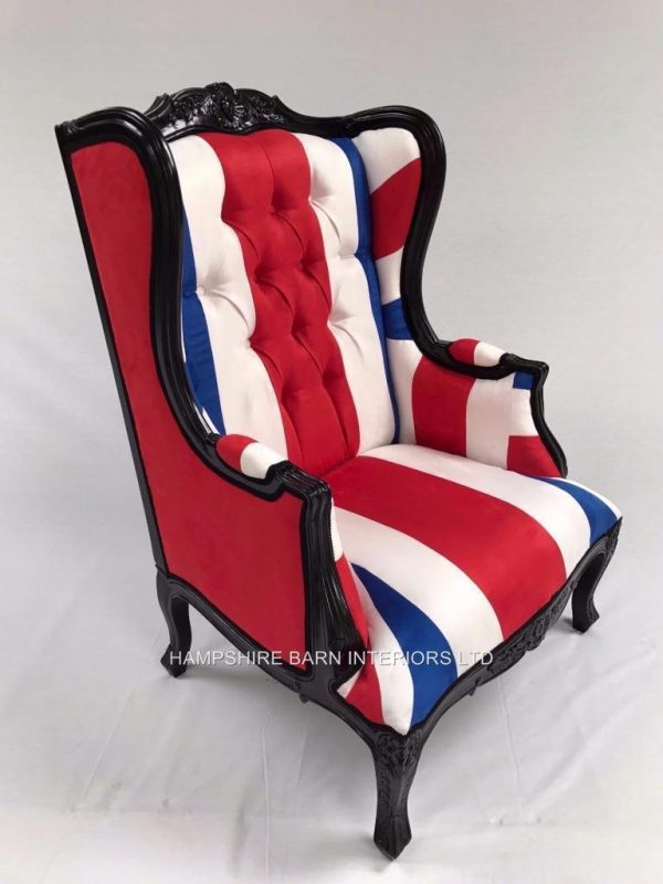 A 1 BLACK UNION JACK CHAIR BLUE WHITE RED FLAG