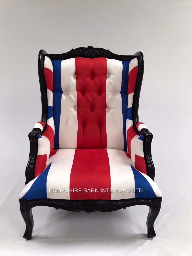 A 1 Black Union Jack Chair Blue White Red Flag Hampshire Barn Interiors
